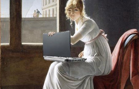 Young Woman Blogging, after Marie-Denise Villers // Mike Licht